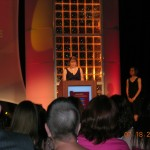 Vivi Andrews accepting the 2009 Golden Heart for Single Title Contemporary Romance