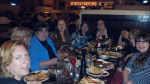 Ruby Dinner! From front right to front left: Heather McCollum, Laura Navarre, Rita Henuber, Anne Marie Becker, Addison Fox, Liz Bemis, Jeannie Lin, Tamara Hogan, Sara Ramsey (taking the picture is Kim Law).