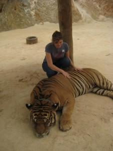 "Vivi at a Tiger Sanctuary in Thailand doing ""research"" for her shape-shifter series"
