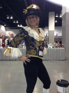 Laura Navarre in costume at the book signing.