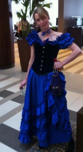 Elizabeth Essex dresses the part for the Rosie's Gulch party.