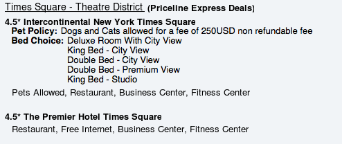 Express Deal Hotel List NYC 4.5 stars